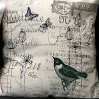 Embroidered and appliqued cushion.