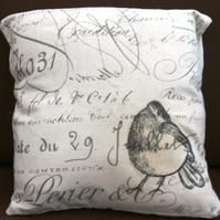 Robin printed linen cushion.