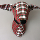 Fabric trophy head dog, faux taxidermy.