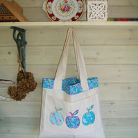 Appliqued apples bag