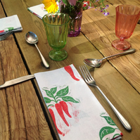 Hand printed chilli napkins