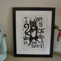 'Cat Groove' mounted lino print