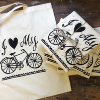 Hand printed 'I love my bike' bag