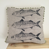 Screen printed Mackerel Cushion