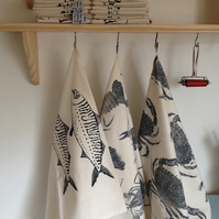 Screen printed Mackerel Tea towel