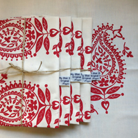 Paisley screen printed tea towel