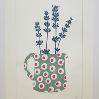 Spotty Jug with lavender mounted print