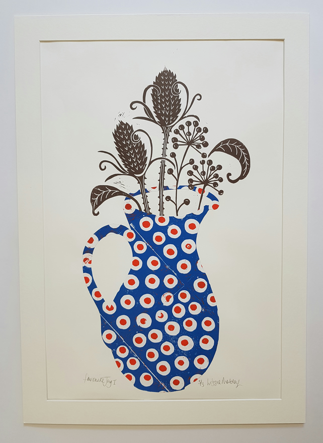 Large blue spotty jug with seed heads mounted print