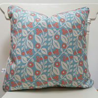 'Lucy' cushion in blue and coral