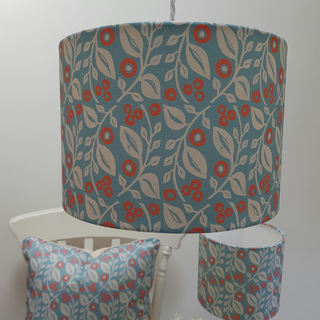 30cm drum 'Lucy' lampshade in blue and coral