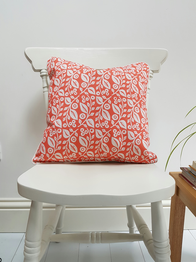 'Lucy' Cushion in Coral