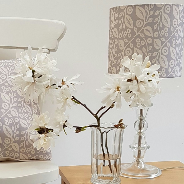 20cm 'Lucy' drum lampshade in grey