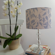 30cm drum lampshade in Blue on cream Alpina