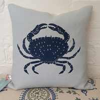 Screen Printed Crab cushion - Pale Blue