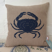 Screen Printed Crab Cushion - Dark Grey
