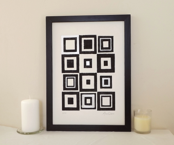 Squares, grey black - graphic abstract acrylic lino print