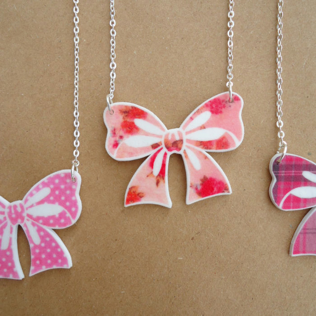 Bow Necklace, Handmade pink vintage floral pattern Jewellery