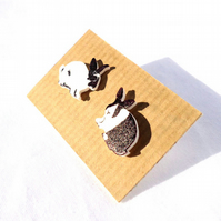 Mixed Rabbit Earrings Dutch English bunny cute handmade studs