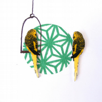 Yellow Budgie Bird Earrings, parrot, pet, tropical,