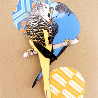 Budgie Brooch in yellow and blue.