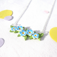 Forget me not floral bouquet necklace