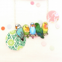 Love Bird necklace blue and teal
