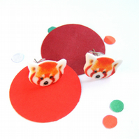 Red panda Studs cute handmade earrings zoo animal
