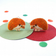 Hedgehog earrings handmade illustrative studs - Autumn woodland