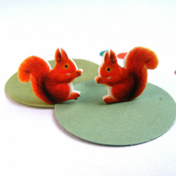Red squirrel earrings handmade woodland studs original illustration