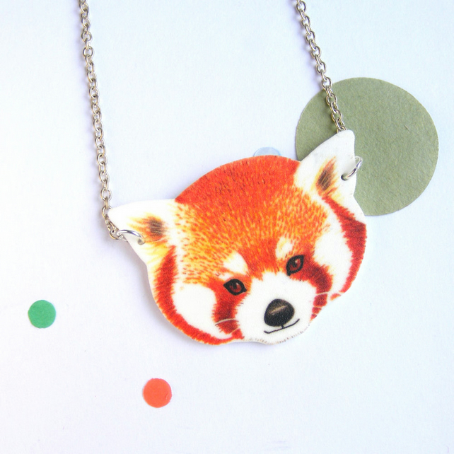Red panda pendant cute animal necklace chain zoo animal