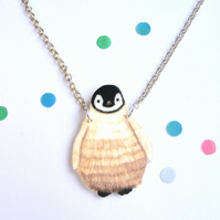 Baby penguin necklace cute winter jewellery