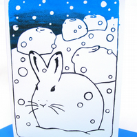 Snow hare rabbit card hand silkscreen printed