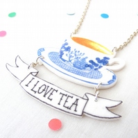 I Love Tea Necklace , illustrative , british , tattoo , funny , jewellery