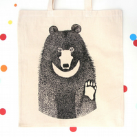 Moon bear , Asian black bear tote bag , fair trade , cotton