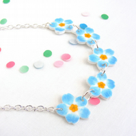 forget me not chain necklace, hand drawn, blue flower, jewellery