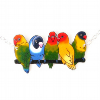 Love bird necklace, parrot, tropical, rainbow, colourful, jewellery,
