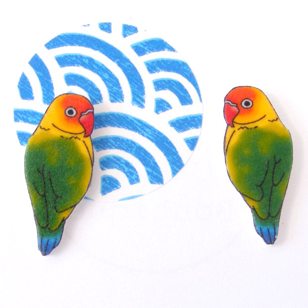Love Bird Earrings, parrot, pet, tropical, rainbow, colourful, summer,