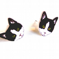 Black and White Cat Earrings, cute, cat lady, cat lover, kitten, studs