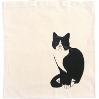 fair trade, Cat Bag, hand silkscreen printed, cotton tote, organic, cat lady,