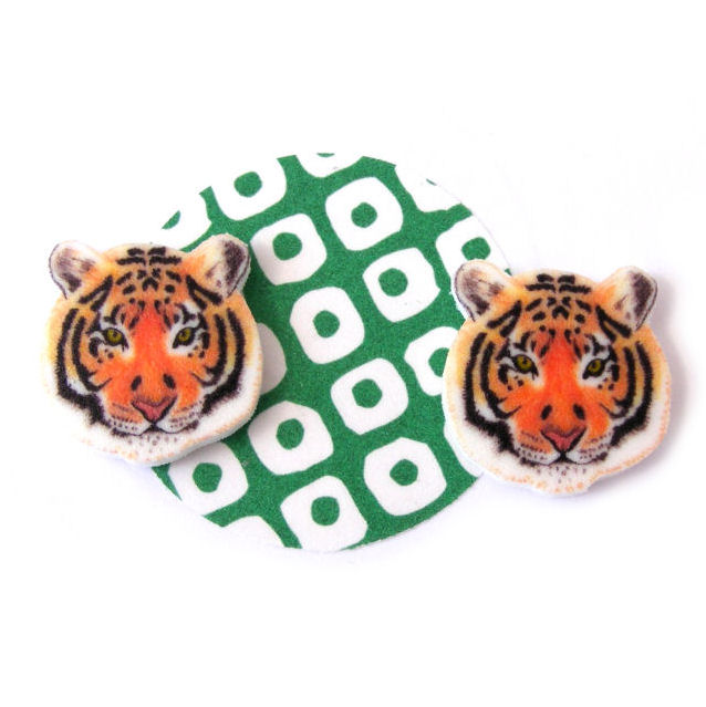 Tiger Earrings, tropical, animal, jungle, cat, zoo, orange