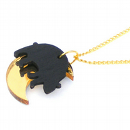 Moon bear necklace, Acrylic gold moon and wood Asian black bear charms