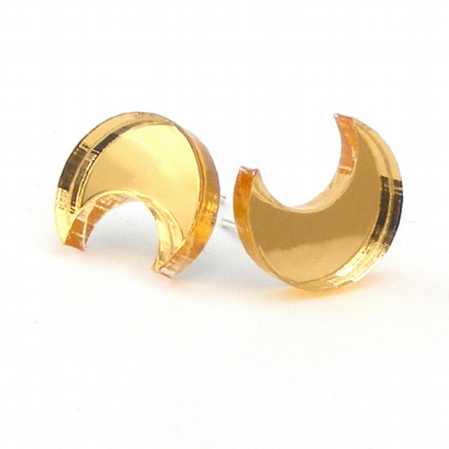 Moon earrings gold acrylic studs cresent moon.