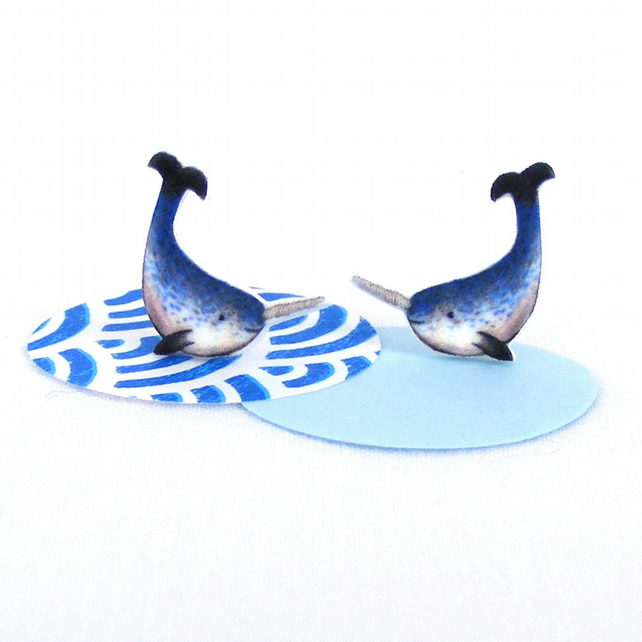 Narwhal earrings, sea creature, cute animal earrings, narwhals