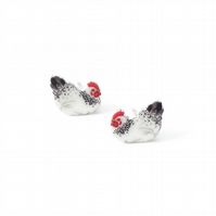 Chicken earrings, good life, chick studs, hen jewellery
