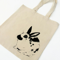 Fair trade Rabbit tote Bag Hand silkscreen printed ethical gift