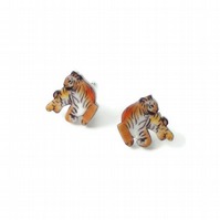 Tiger Earrings, big cat studs, jungle book