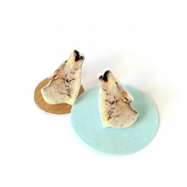 Wolf earrings, wolves, howling, animal studs,