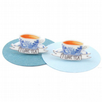 I Love Tea Earrings, studs, cuppa, china tea cup