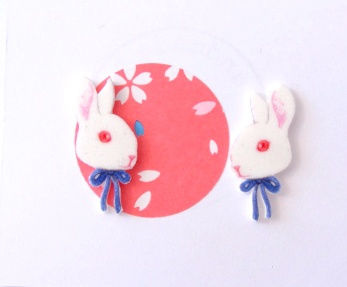 Large White Rabbit Earrings