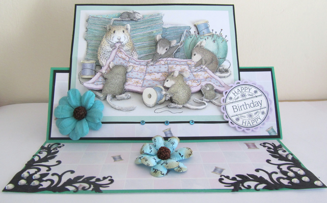 Hand made House Mouse decoupaged birthday card